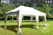 Buy Gazebo Pro 3x6 m. Curved valance and 6 curtains, white online