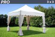 Gazebo Pro 3x3 m. White. Curved valance and 4 curtains for sale